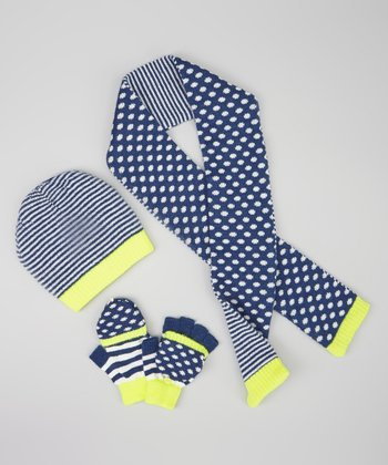 Navy & Yellow Polka Dot Stripe Beanie Set