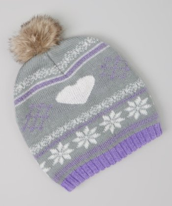 Gray & Purple Heart Jacquard Pom-Pom Beanie