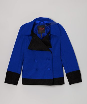 Royal Blue Two-Toned Peacoat - Girls
