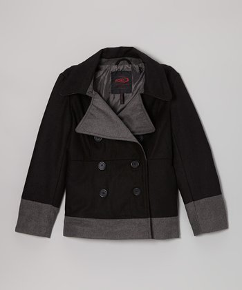 Black Two-Tone Peacoat - Girls