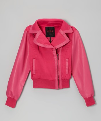 Fuchsia Asymmetrical Zip-Up Jacket - Girls