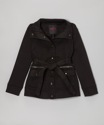 Black Belted Funnel Collar Coat - Girls