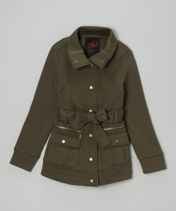 Olive Green Belted Funnel Collar Coat - Girls