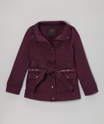 Purple Belted Funnel Collar Coat - Girls