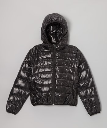 Black Hooded Puffer Jacket - Girls