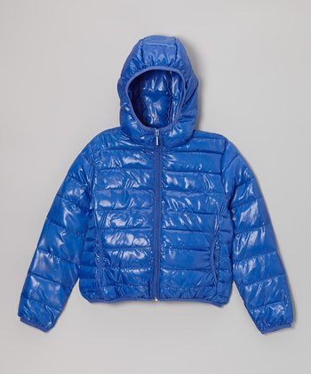 Royal Blue Hooded Puffer Jacket - Girls