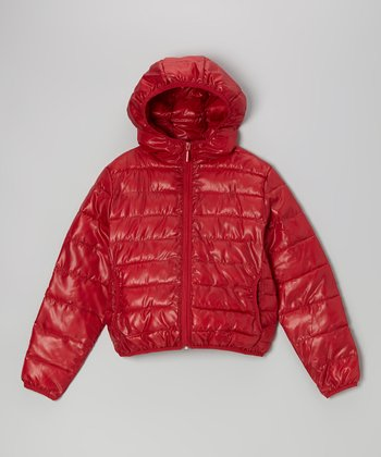 Red Hooded Puffer Jacket - Girls