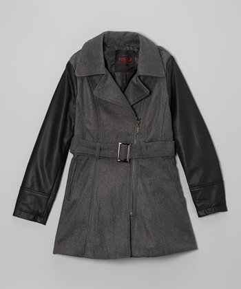 Charcoal Contrast Sleeve Jacket - Girls