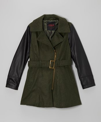 Olive Contrast Sleeve Jacket - Girls