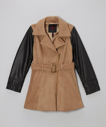 Camel Contrast Sleeve Jacket - Girls
