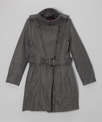 Charcoal Diagonal Zip Jacket - Girls