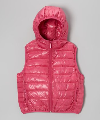 Fuchsia Zip Puffer Vest - Girls