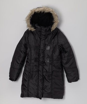 Black Hooded Toggle Coat - Girls