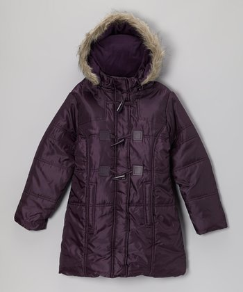 Purple Hooded Toggle Coat - Girls