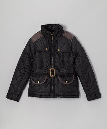 Black Quilted Jacket - Girls