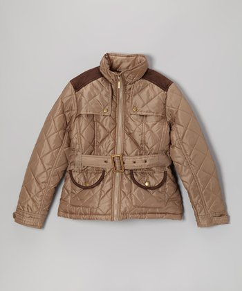 Camel Quilted Jacket - Girls