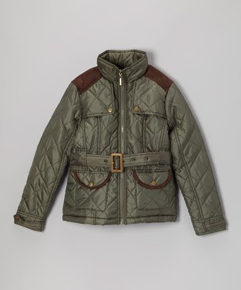 Olive Quilted Jacket - Girls