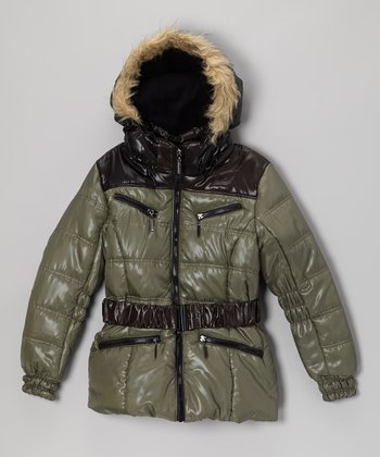 Olive Quilted Puffer Coat - Girls