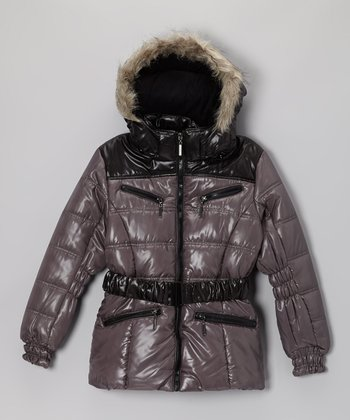 Charcoal Quilted Puffer Coat - Toddler & Girls