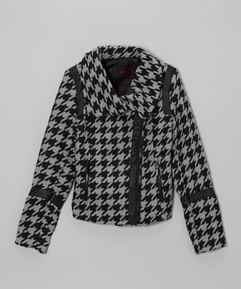 Gray Houndstooth Asymmetrical Zip Jacket - Girls