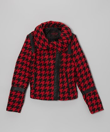 Red Houndstooth Asymmetrical Zip Jacket - Girls