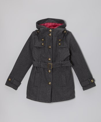 Charcoal Hooded Military Coat - Girls