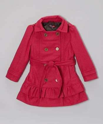 Fall Fuchsia Belted Ruffle Coat - Toddler & Girls