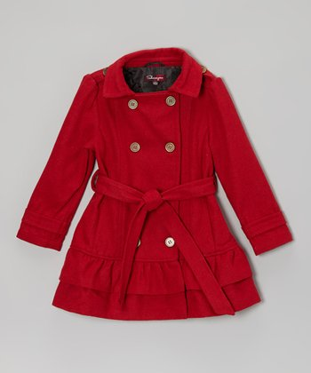 Real Red Belted Ruffle Coat - Toddler & Girls