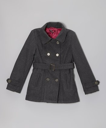 Charcoal Belted Slit Pocket Coat - Toddler & Girls