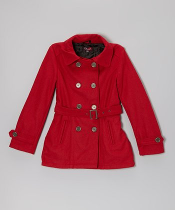 Real Red Belted Slit Pocket Coat - Toddler & Girls