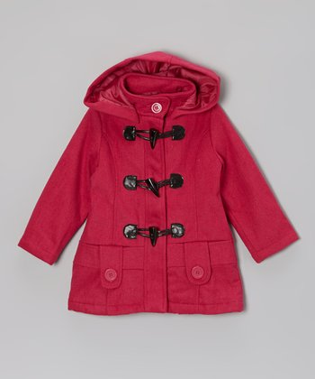 Fall Fuchsia Hooded Toggle Jacket - Girls