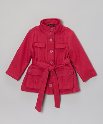 Fall Fuchsia Tie Belt Jacket - Toddler & Girls