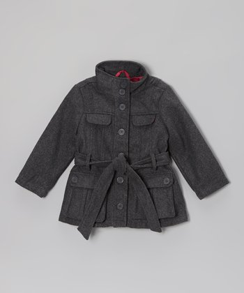 Charcoal Tie Belt Jacket - Toddler & Girls