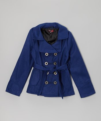 Bright Blue Double Breasted Tie Jacket - Toddler & Girls