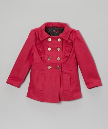 Fall Fuchsia Ruffle Double Breasted Jacket - Toddler & Girls