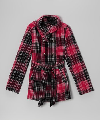 Fall Fuchsia Plaid Belted Jacket - Girls