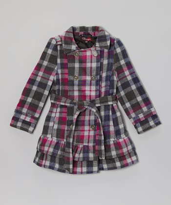 Plumberry Plaid Ruffle Jacket - Girls