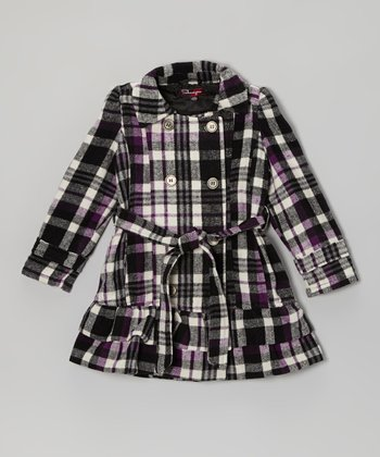 Blackberry Plaid Ruffle Jacket - Girls