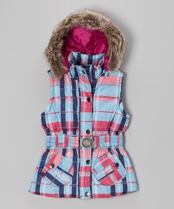 Ice Blue Plaid Belted Hooded Puffer Vest - Toddler & Girls