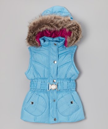 Ice Blue Belted Hooded Puffer Vest - Toddler & Girls
