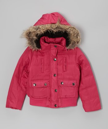 Raspberry Hooded Puffer Jacket - Girls