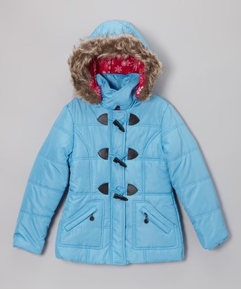 Ice Blue Toggle Hooded Puffer Jacket - Toddler & Girls