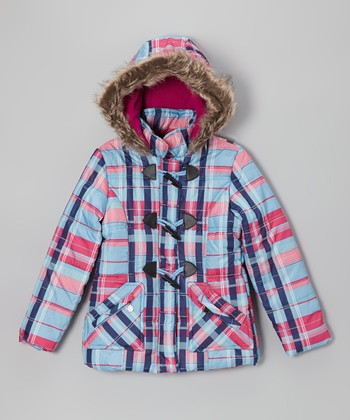 Ice Blue Plaid Toggle Hooded Puffer Jacket - Toddler & Girls