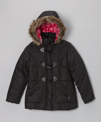 Black Toggle Hooded Puffer Jacket - Toddler