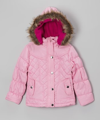 Pink Quilted Hooded Puffer Jacket - Girls