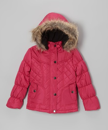 Raspberry Quilted Hooded Puffer Jacket - Toddler & Girls