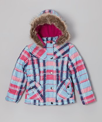 Ice Blue Plaid Quilted Hooded Puffer Jacket - Toddler & Girls