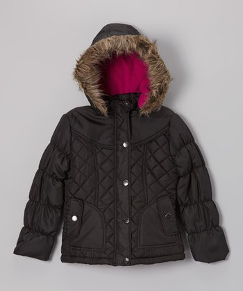 Black Quilted Hooded Puffer Jacket - Girls