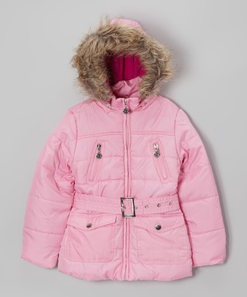 Pink Long Hooded Puffer Jacket - Toddler & Girls