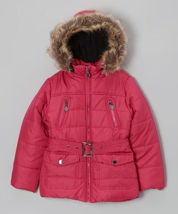 Raspberry Long Hooded Puffer Jacket - Toddler & Girls